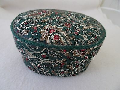 Vtg. Fabric Covered Paisley Oval Jewelry/trinket Box-Cushioned/padded