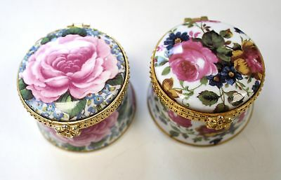 Pair of FENTON Staffordshire Fine China Floral Trinket Boxes  - P23