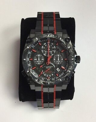 BULOVA Men's Precisionist Red Black Ion Stainless Steel Chronograph WATCH 98B313