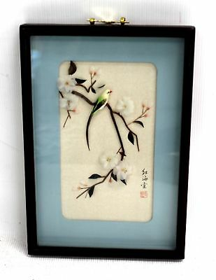 Decorative CHINESE 'Bird On Floral Branch' COLLAGE ARTWORK / Framed - H09