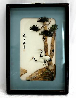 Decorative CHINESE 'Red Crown Cranes' COLLAGE ARTWORK / Framed - H09