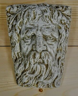 Greek Roman Zeus Mask Wall Plaque Antique Finish
