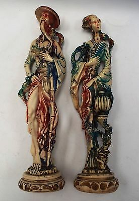 Pair Of Vintage RESIN FIGURINES Chinese Couple With Birds - S09