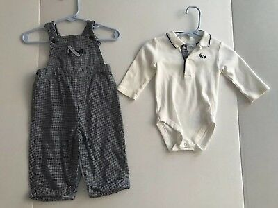 NEW Janie and Jack Baby Boy Blue Airplane Overall Layette Outfit 3-6 Months NWOT
