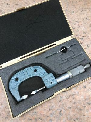 "Mitutoyo 122-125  0 - 1"" Mechanical Blade Micrometer with Case"