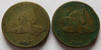 1857 + 1858 Flying Eagle Cents, 2 Vintage Penny 1C coins   (191710X)