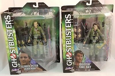 Lot of 2 Diamond Select Ghostbusters Figures ~Slimed Peter~Quttin' Time Ray~NEW