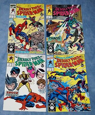 """COMPLETE """" THE DEADLY FOES of SPIDER-MAN """" MINI-SERIES  #1 2 3 4, MARVEL (1991)"""
