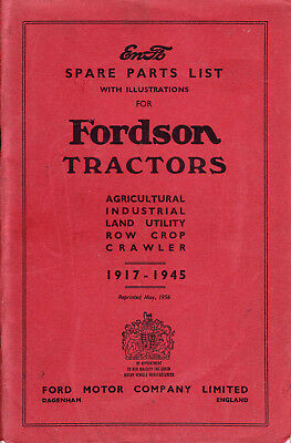 FORDSON TRACTORS Spare Parts List 1917-1945 Original Book Catalogue MANUAL 1956