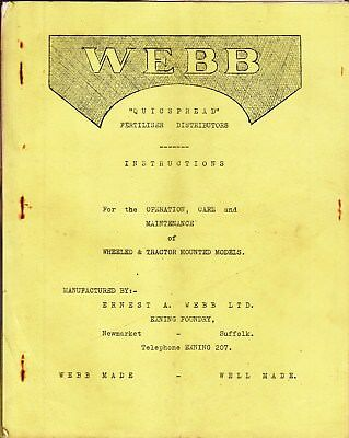 WEBB QUICKSPREAD Fertiliser Distributors Operation Care Maintenance MANUAL 1955