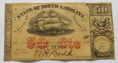 1864 State of North Carolina 50 Cents Note, Confederate Currency Bill (191803W)