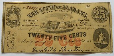 1863 State of Alabama 25 Cents Note, Confederate Currency Montgomery (191811W)