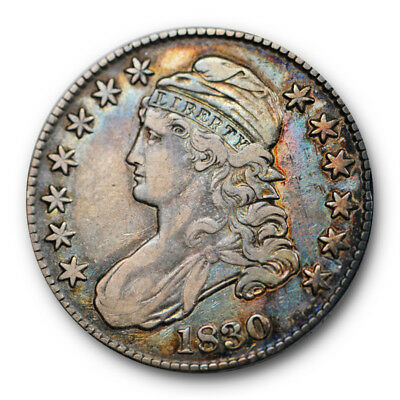 1830 50C Capped Bust Half Dollar Very Fine to Extra Fine Rainbow Toned #RP117