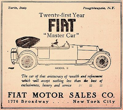 1917 Fiat Motor Car Co, Turin, Piedmont Italy - New York City Fiat Automobile Ad