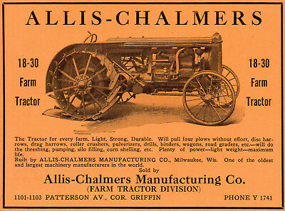 1919 Allis - Chalmers Mfgr Co, Milwaukee, Wisconsin Color Tractor Advertisement