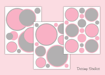 Polka Dot Decals Pink Gray Baby Girl Nursery Wall Art Stickers Kids Room Decor