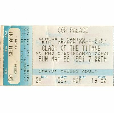 AIC & MEGADETH & ANTHRAX & SLAYER Concert Ticket Stub SF CA 5/26/91 COW PALACE