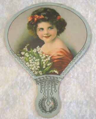 Vintage Reinforced Cardboard Advertising Hand Fan Girl W/lily Of Valley Flowers