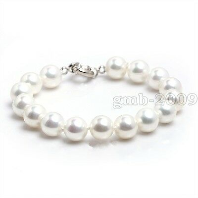 """10mm Genuine Natural White South Sea Shell Pearl Round Gemstone Bracelet 7.5""""AAA"""