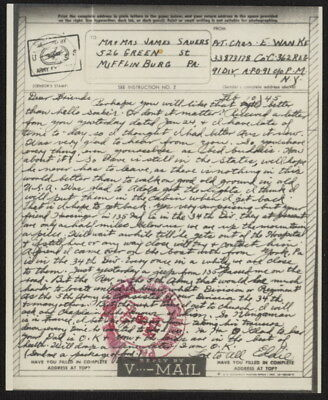 1945 US V-Mail Co. C, 362 Regiment, 91st Division (Florence, Italy), APO 91, NY