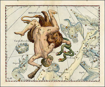 1687 antique CELESTIAL MAP constellation Hevelius HERCULES zodiac GREEK HERO 20