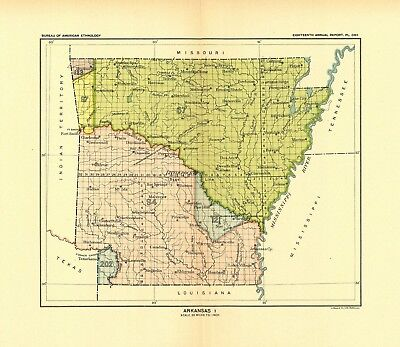 1896 map Arkansas 1 United States Indian land cessions POSTER 5