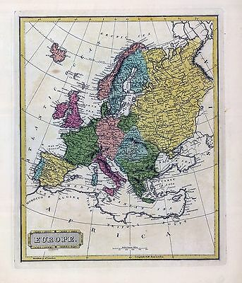 1816 LUCAS ATLAS MAP POSTER genealogy family history EUROPE 3