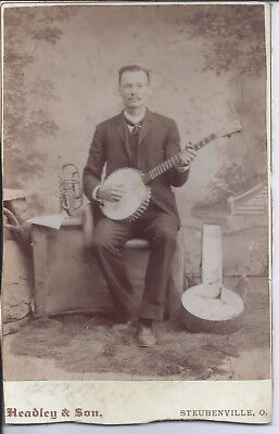 1890s CABINET CARD PHOTO STEUBENVILLE OH BANJO & ROTARY VALVE TRUMPET? PLAYER