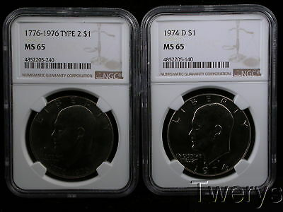 2 Piece Lot 1974-D And 1976 Type 2 Eisenhower Dollars Ngc Ms 65