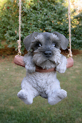 Schnauzer Puppy Dog Hanging  Swing Figurine Tree Ornament Garden Decor Resin 5""