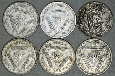 South Africa 3 Pence Lot of 6 Silver Coins