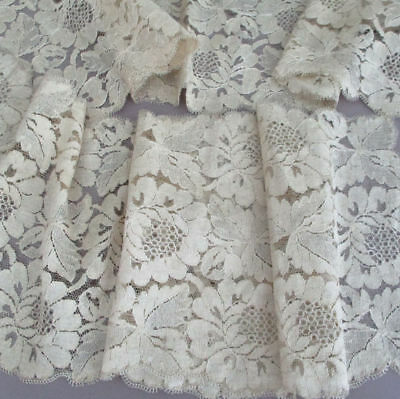 """Antique Blonde French SILK Chantilly LACE Lappet Shawl Runner 60"""" X 8"""" FLOWERS"""