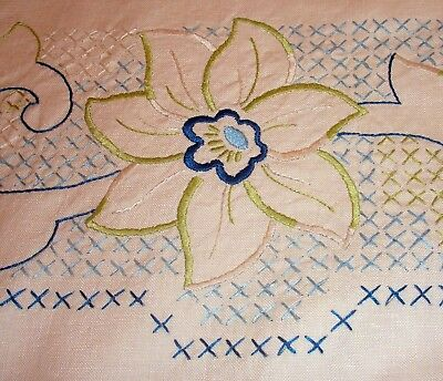 Tablecloth Embroidered Flowers Scrolls in Blue Green & Cream Cross Stitch