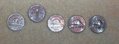 (5) Canada : Canadian 5 Cent Nickel Coins - V Nickel 1945, 1940, 1960, 1964