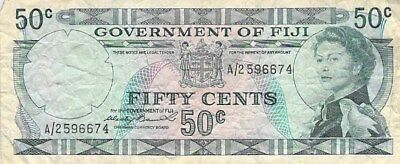 Government Of Fiji 50 Cents Notes 1969 & 1971 P-58 P-64 Elizabeth Ii