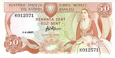Cyprus 50 Cents Note 1987 Cu P-52