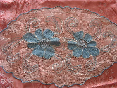 Beautiful Vintage Hand-Embroidered Tulle Doily