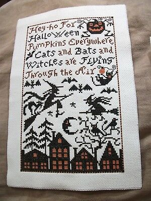 Completed Cross Stitch - Prairie Schooler Cats,Bats & Witches Sampler +Ornament