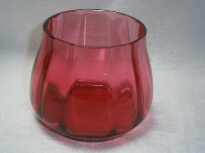 Antique Ruby / Cranberry Glass Sugar Bowl Or Vase.