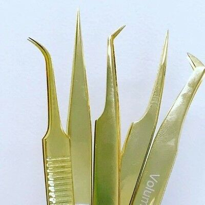Eyelash Extension Tweezers Russian Volume Tweezers Set of 5 Gold Plasma Tweezers