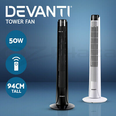 Devanti Portable Tower Fan Remote Control Cross Flow Touch Panel Timer WH BK