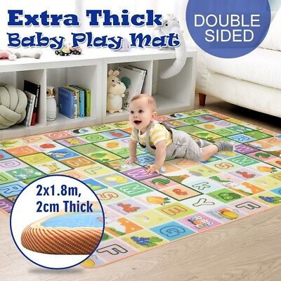20mm Thick Large Baby Kids Toddler Play Mat Floor Rug 2mx1.8m Anti-Slip Surface