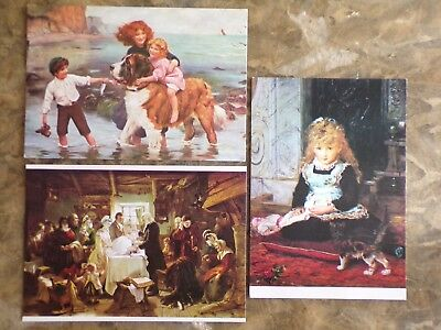 Collection of 3 vintage Medici Society art (paintings) postcards : new