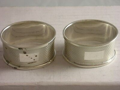 SUPERB 1988 PAIR Silver Napkin Rings 30 grams fine condition nice present