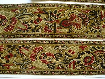 Antique 19Th Century Aesthetic Design Woven Wool Tapestry Trim Border Edging