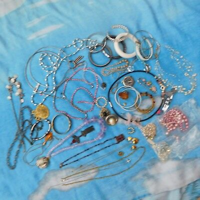 Variety vintage job lot of jewellery spares repair mix wearable sets hearts etc.