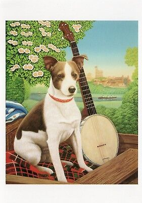 ART postcard of TERRIER DOG WITH A BANJO 'MONTMORENCY' by FRANCES BROOMFIELD