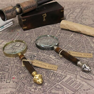 Pune Antique Vintage Magnifying Glass Brass Pewter Filigree Handle Map Nautical