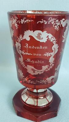 Tremendous 19th Century Bohemia Souvenir Goblet of Ruby Crystal Cut to Clear
