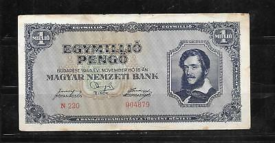 Hungary #122 1945 Very Good Circulated  Million Pengo Old Banknote Paper Money